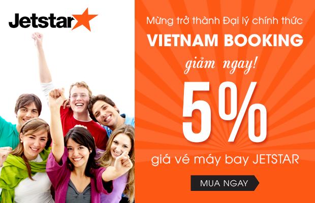 Giảm 5% giá vé máy bay Jetstar khi mua tại Vietnam Booking