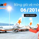 Bảng giá vé máy bay Jetstar tháng 6 năm 2016