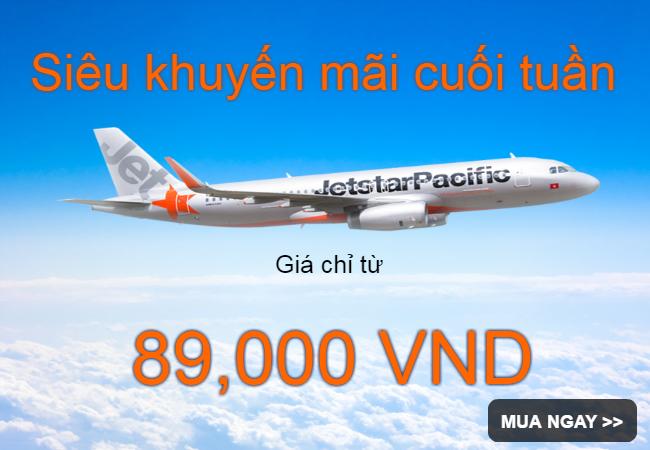 Jetstar khuyến mãi vé máy bay giá chỉ từ 89,000 VND!