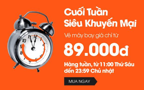 Jetstar siêu khuyến mãi cuối tuần, vé 89,000 VND!