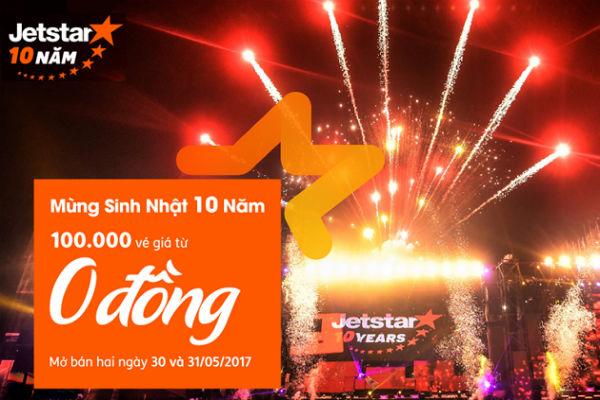 Jetstar tung hàng ngàn vé 0 VNĐ trong hai ngày 30 và 31/05