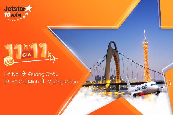 Jetstar tung vé 11,000 VNĐ, mua ngay bay Quảng Châu thôi!