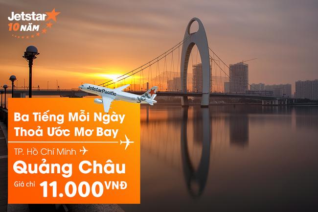 Siêu khuyến mãi vé máy bay TPHCM đi Quảng Châu 11.000đ