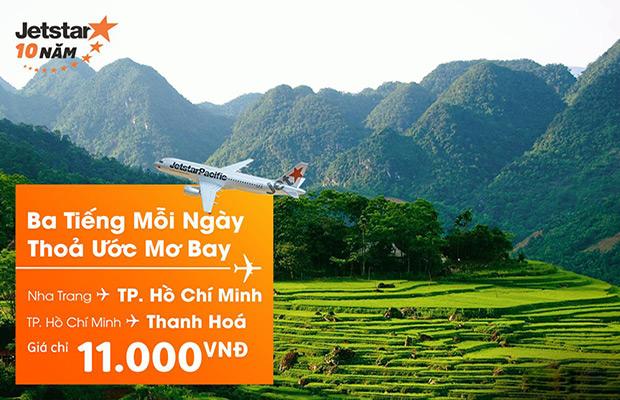 Chỉ 11.000đ có ngay vé bay đến TPHCM, Thanh Hóa