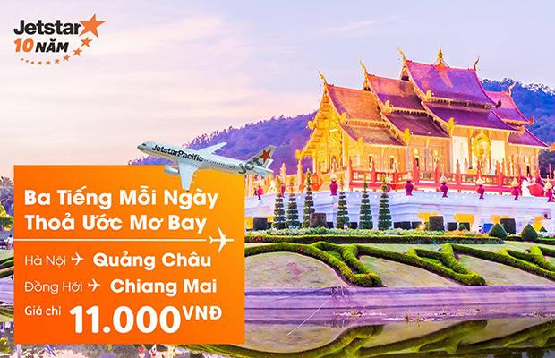 Bay Quảng Châu, Chiang Mai cùng vé Jetstar 11.000đ