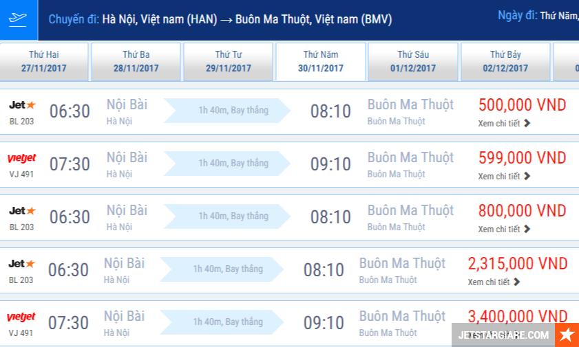 Vé máy bay Hà Nội Buôn Ma Thuột giá rẻ