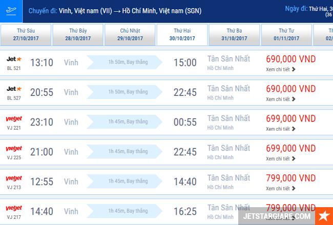 Vé máy bay Vinh Sài Gòn rẻ nhất