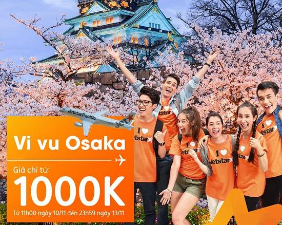 Jetstar sale thả ga vé máy bay đi Osaka chỉ 1000k và nhiều chặng bay giá 55k